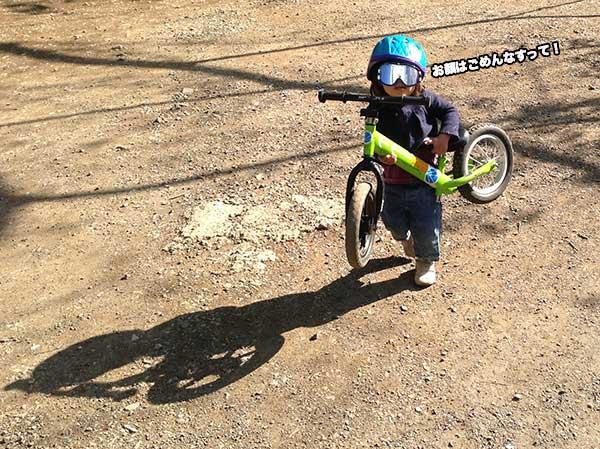 ストライダーは軽量、2歳の子が持ち上げた!