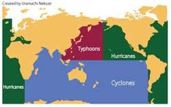 台風 サイクロン ハリケーン分布図